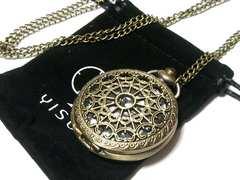 【新品・未使用】スケルトン装飾の美しいレトロ風 懐中時計