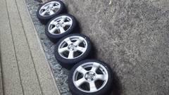 軽carに新品タイヤ165/50R1515×5.5J pcd100 +43
