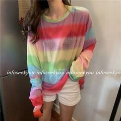 LL3L大きいサイズ/カラーボーダーTシャツ