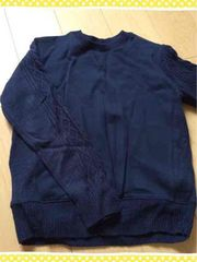 紺/ネイビー/袖ニット切り替え/トレーナー/スエット/Lサイズ