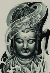 彫ったみたいにリアルなタトゥーシール 仏陀 ブッダ 釈迦