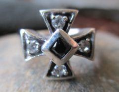 Silver925Ringアイアンクロス鉄十字(黒十字) 指輪 15号