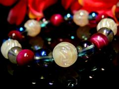 バラ彫ローズクォーツ10ミリ§ピンクタイガーアイ§ブルーオーラ8ミリ