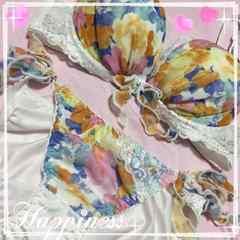 ・:*+.甘々ッ♪ラブリーキュートな花柄ブラジャー&紐パンツc75