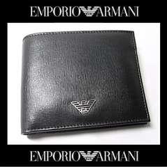 EMPORIO ARMANI YEM122 二つ折り財布 ブラックXシルバー 41040円 新品