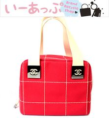 極美品 シャネル ハンドバッグ 赤 キャンバス チョコバーw676