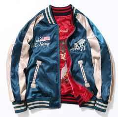メンズジャケット ジャンパー 両面でも着られる鶴柄S~2XLAK440