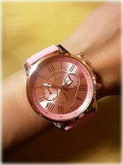 新品 ビッグサイズ 腕時計 ウォッチ ライトピンク