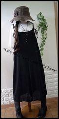 新品*夏ブラック/ゆるオールインワン&Tシャツ*大きいサイズ*3L