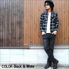 厳選ネルチェックシャツ41164タータン黒M
