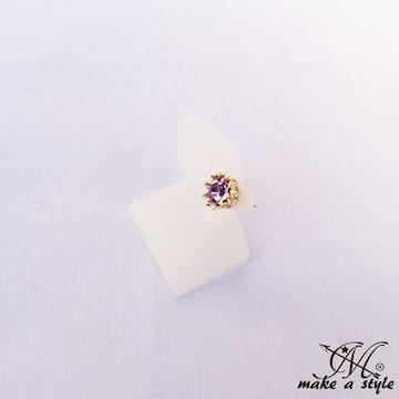 ジルコニア スタッド ピアス 男女兼用 メンズ レディース414金紫