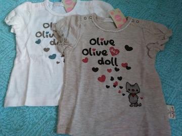 新品 OLIVE des OLIVE DOLL80 サイズ女の子半袖 T シャツ 2点