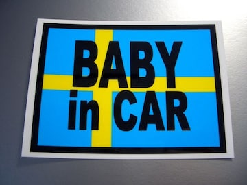 BABY in CARスウェーデン国旗ステッカー□ボルボ