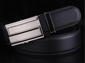 オートロック式 本革 高級ベルト 110cm〜125cm 長さ選択N