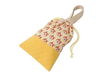 妖怪ウォッチ ジバニャン シューズ袋 上履き入れ クリーム×黄