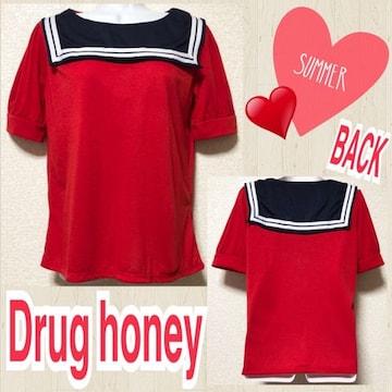 【新品/Drug honey】セーラーカラーカットソー
