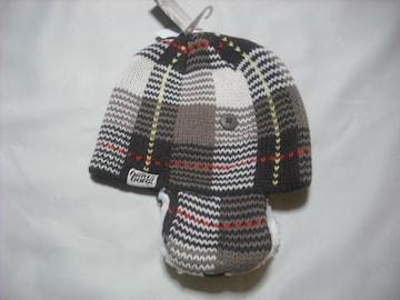 wb23 女 BILLABONG ビラボン 耳当て付き チェック ニット帽