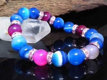ブルーストライプアゲート10ミリ§ピンクアゲート10ミリ数珠