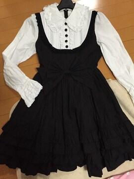 美品☆アンドロメオ☆ゴスロリワンピース☆シャツ付き☆白×黒