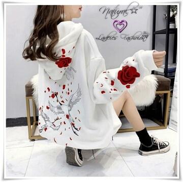 新作★大きいサイズ2L〜4L バラ&ツル刺繍パーカー*白