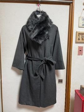 フェイクファー付きノーカラーロングコートM〜Lチャコールグレー