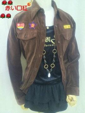 Mサイズ〜*別珍素材ミリタリー風ワッペン付カッターシャツ焦げ茶
