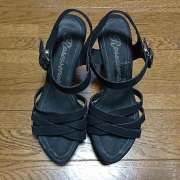 R&E/サンダル/ヒール/S/黒/ブラック/アール&イー