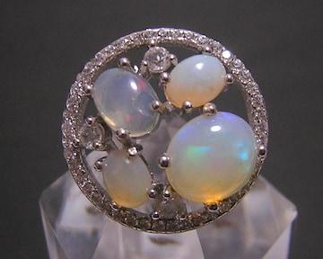 送料無料 『天然オパール』 デザインリング 指輪