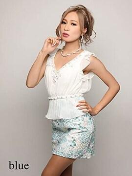 000060 リップライン シースルーフラワー刺繍シフォンプリーツペプラムタイトミニドレス