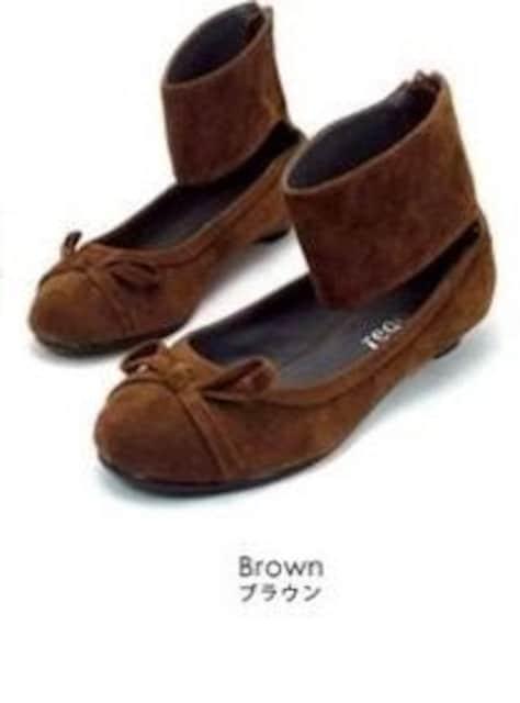 新品<REGOLITH>バックジップアンクルバレエシューズ合成皮革(ブラウンSS)reg117  < 女性ファッションの