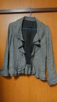 ツイードミックス柄 前裾フリルジャケット☆