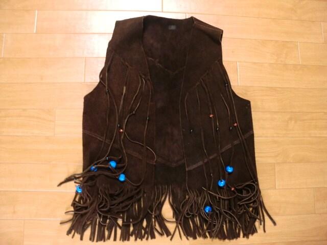ヴィンテージ 70年代 フリンジ レザー ベスト SM  < 男性ファッションの