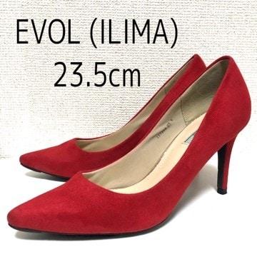 EVOL ILIMA スエード ポインテッドプレーンパンプス 23.5cm 赤 レッド