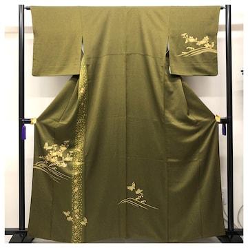 美品 訪問着 正絹 特選 高級呉服 裄64 身丈161 紋無 菊に蝶々模