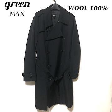 green MAN トレンチコート 3/グリーンマン ウール100% レア品!