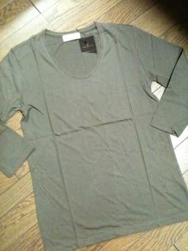 新品nano-universe Uネック7分丈Tシャツ L カーキ  ナノ