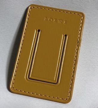 正規未 ロエベLOEWE ブランドロゴ文字 レザーマネークリップ イエロー 財布 ウォレット