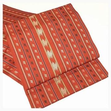 美品 縞 エスニック織模様 九寸名古屋帯 正絹 逸品 名古屋帯(赤