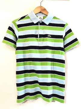 LACOSTE■ポロシャツ■ボーダー■ワニ■ラコステ■USA■緑青黒