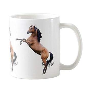 躍動する馬のマグカップ (A:後ろ足で立つ馬)