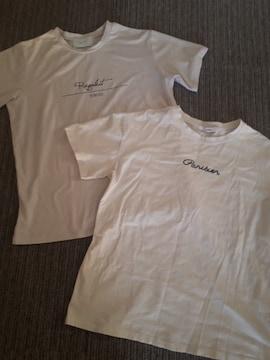 グレイル/GRLリガレクト半袖Tシャツ英字ロゴホワイト2枚セット