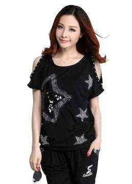 キラキラスター!!半袖スパンコールTシャツ(XL寸・黒)