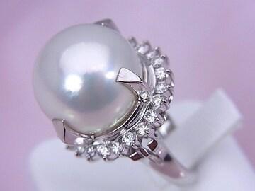 鑑別書付 Pt 15.7mm珠 南洋白蝶パール ダイヤモンドリング 11.5号★dot