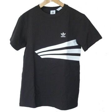 新品L★アディダスオリジナルス黒胸ロゴTシャツ