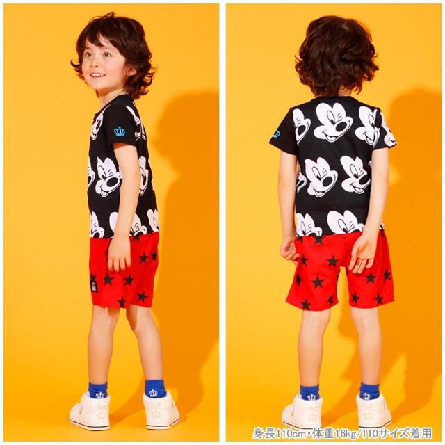 新品BABYDOLL☆130 ミッキー総柄 Tシャツ 黒 ベビードール < ブランドの