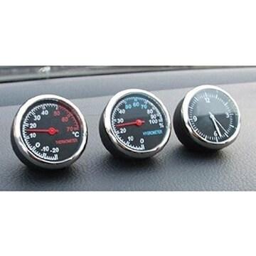 追加メーター風 アナログ 3連メーター 温度計 湿度計 時計