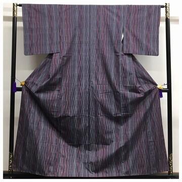 上質 美品 紬 縞 織り模様 63.5 身丈156 高級呉服 正絹 袷