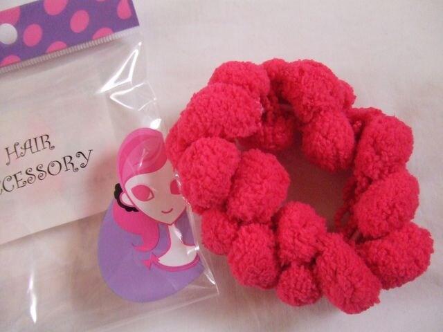 ふわもこピンク髪飾りヘアゴム原宿ぱみゅakbダンス新品  < 女性ファッションの
