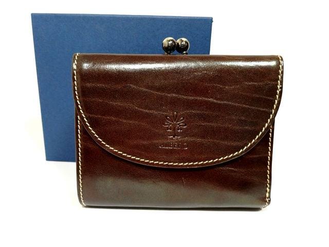 美品【箱付き】ALBERO イタリア製牛革【がま口】財布  < 女性ファッションの