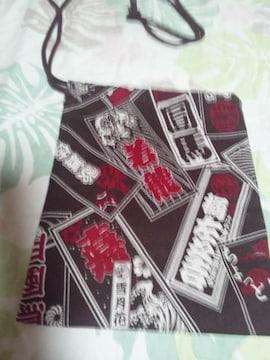 ☆新品茶色×千社札和柄ナナメ掛巾着袋